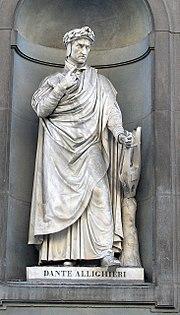 Statue of Dante at the Uffizi, Florence.