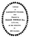 Dartmouth College Isaiah Thomas bookplate.png