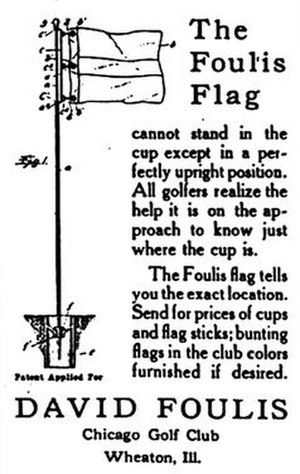 David Foulis (golfer) - Foulis golf flag support invention