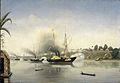 De beschieting van de Kraton van de Sultan van Djambi door de gouvernementsmarineschepen Celebes, Admiraal van Kinsbergen en Onrust op 8 september 1858 Rijksmuseum Amsterdam SK-A-4105.jpg