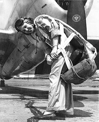 Women Airforce Service Pilots - Deanie Parrish in front of P-47 Thunderbolt on the flight line at Tyndall Air Force Base, Florida, in 1944.