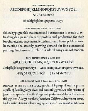 Deepdene (typeface) - Deepdene in metal type