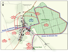 Colour map image depicting town and wood to the right of the town. Shows main access routes and positions of Allied and German forces on 16 July 1916