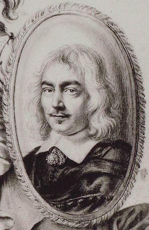 Denis Gaultier - Denis Gaultier, engraving by Robert Nanteuil from La Rhétorique des Dieux (1652, detail)