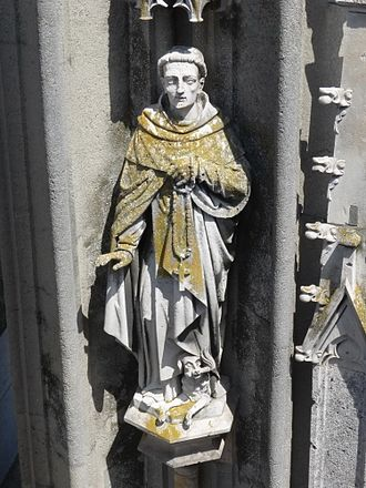 Lichen - Lichens on a statue made of limestone on a tower of Regensburg Cathedral