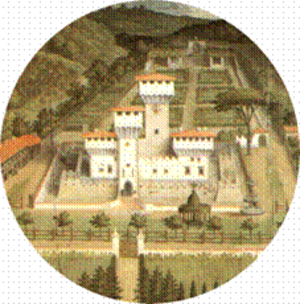 Villa Medici at Cafaggiolo - Detail of Utens' view of 1599, showing layout of the gardens. It depicts green grass, fountains and planting all symbols of the greatest luxury in the parched Tuscan landscape.