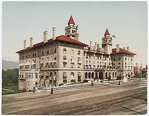 Colorado Springs, Colorado - Replacing the 1883 original which burned earlier in the year, the 1898 Antlers Hotel (above) was torn down in 1964.
