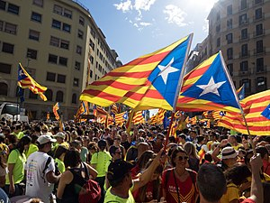 2017 Spanish constitutional crisis - Pro-independence supporters during a rally on 11 September 2017