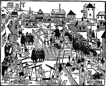 The execution of Vinzenz Fettmilch, woodcut 1616
