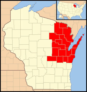 Roman Catholic Diocese of Green Bay - Image: Diocese of Green Bay (Wisconsin) map 1