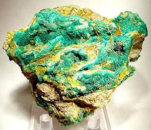Mammoth, Arizona - A striking, old-time specimen of dioptase and wulfenite from the old Mammoth-Saint Anthony Mine.