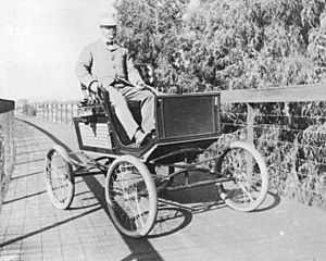Horace Dobbins - Dobbins in an automobile, early 1900s