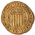 Doble ducado de Juana y Carlos con las armas de Aragón (reverso).jpg