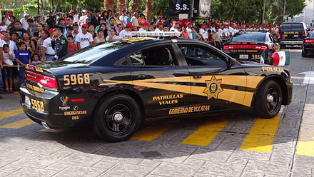 A Dodge Charger squad car of the State Police. Dodge Charger 2014 SSP Yucatan.JPG