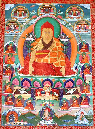 Dolpopa Sherab Gyaltsen - Thangkha with Jonang lama Dolpopa Sherab Gyaltsen (1292–1361)
