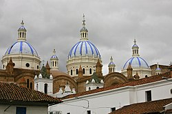 Domes of the New Cathedral in Cuenca, Ecuador.jpg