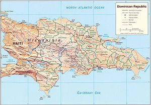 An Enlargeable Relief Map Of The Dominican Republic, Located On The Island  Of Hispaniola, Which It Shares With Haiti.