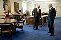 Donald Rumsfeld Robert Gates in SecDef office.jpg