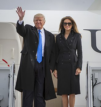 Inauguration of Donald Trump - Then-President-elect Trump and his wife, Melania, arriving at Joint Base Andrews in Washington, D.C. for the inauguration
