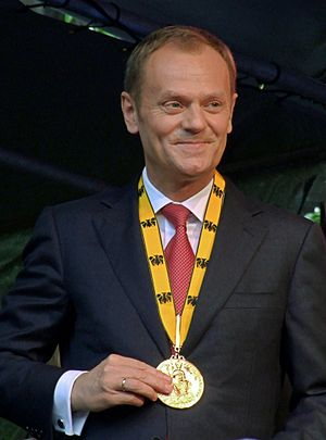 Donald Tusk at the Karlspreis-award 2010 Polsk...