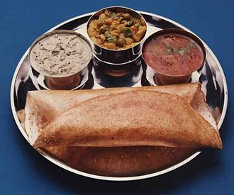 Indian bread - Image: Dosa on tray