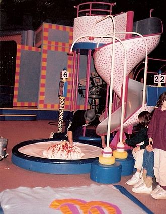 Double Dare (Nickelodeon game show) - The Sundae Slide being prepared on a 1987 Double Dare obstacle course.