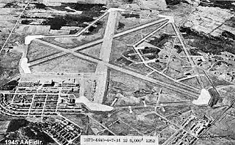 Bangor Air National Guard Base - Dow Army Airfield, July 1944. Around 1950, the facilities on the south side of the airfield were razed and a new Air Force Base built on the north side of the main runway.