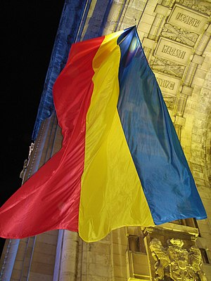 Flag of Romania - Flag hoisted on the Triumphal Arch, Bucharest