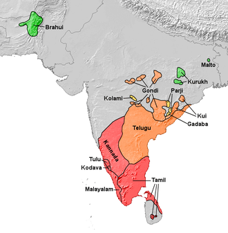 Brahmic scripts - Dravidian languages using their respective Brahmic family scripts (except Brahui which uses Arabic derived script).