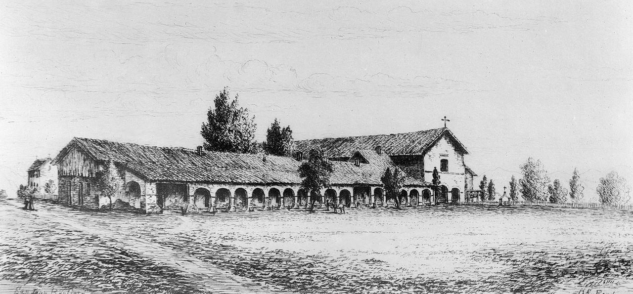 file drawing of the mission san juan bautista  by henry