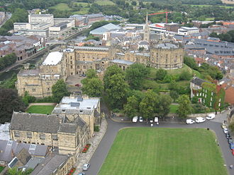 Ranulf Flambard - Modern view from Durham Cathedral looking towards Durham Castle across Palace Green.