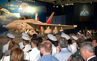Boeing EA-18G Growler - The first EA-18G at the roll-out ceremony on 3 August 2006