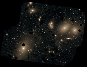 Messier 87 - Messier 87 is a member of the Virgo Cluster, and can be seen to lower left of this cluster image.