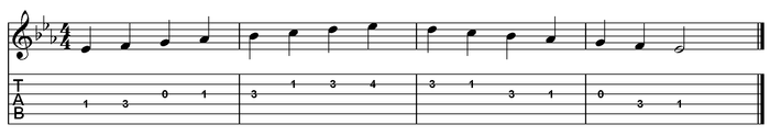 E flat major scale one octave (open position).png