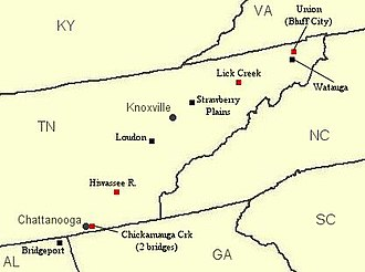 East Tennessee bridge burnings - Bridges targeted by the bridge burners on the night of November 8, 1861; the red squares indicate bridges that were successfully destroyed; Knoxville and Chattanooga are shown for reference