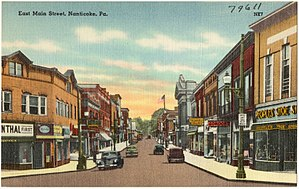 Nanticoke, Pennsylvania - An old postcard of Main Street