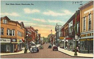 Nanticoke, Pennsylvania - An old postcard of Main Street