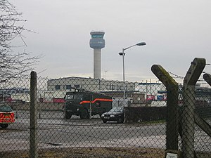 East Midlands Airport and the Control Tower. F...
