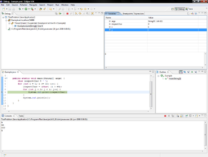 Breakpoint - The debugging interface of Eclipse with a program suspended at a breakpoint. Panels with stack trace (upper left) and watched variables (upper right) can be seen.