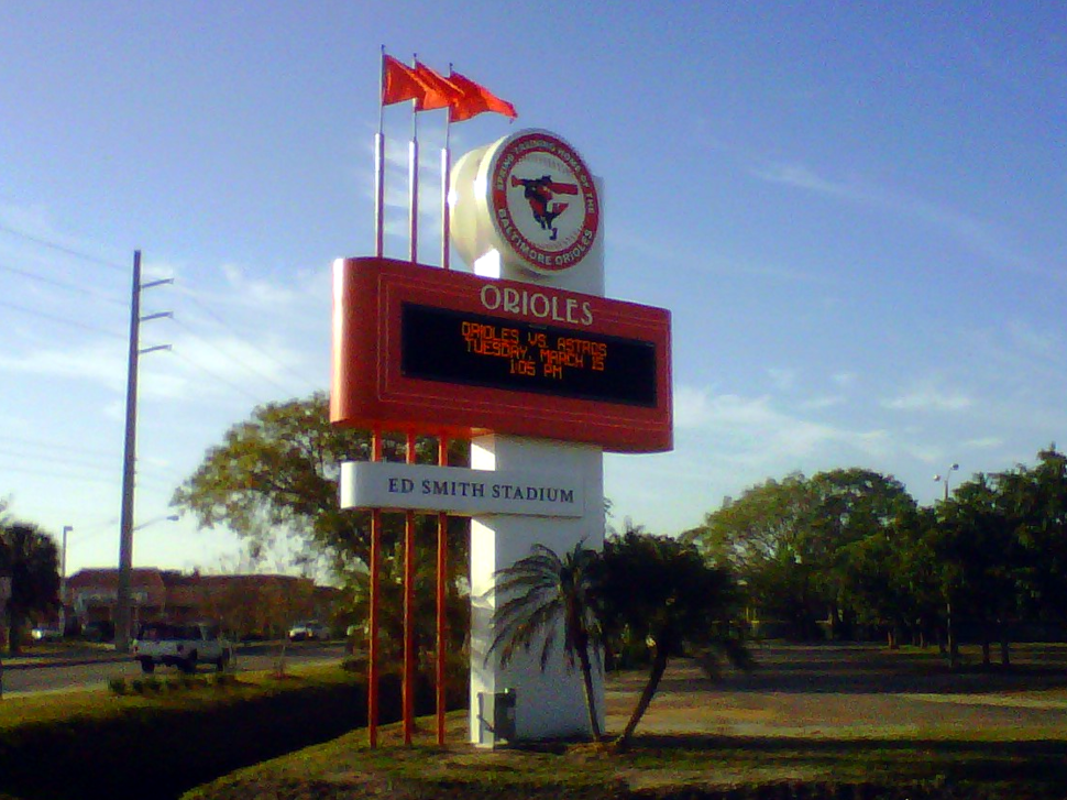 Ed Smith Stadium Baltimore Orioles Spring Training marquee sign