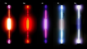Gas-filled tube - Noble gas discharge tubes; from left to right: helium, neon, argon, krypton, xenon