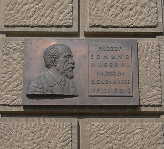 Edmund Husserl - Plaque commemorating Husserl in his home town of Prostějov, Czech Republic