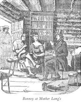 """Detective - Edward Bonney, an American bounty hunter and amateur detective, from Iowa, in 1845, infiltrated, the """"Banditti of the Prairie"""", wrote the 1850 book, The Banditti of the Prairies: or, The murderer's doom, a tale of Mississippi Valley and the Far West; woodcut from 1850."""