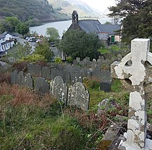 Eglwys y Santes Fair; Church of St Mary on the shores of Llyn Talyllyn lake; Llanfihangel-y-Pennant, Gwynedd, Wales 26.jpg