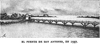 San Juan Bay - 1919 drawing of the San Antonio Bridge in 1597
