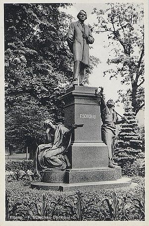 Ferdinand Schichau - The Schichau Memorial in the park along Schichaustraße, Elbing. The city now belongs to Poland; the statue no longer exists, and the street has been renamed.