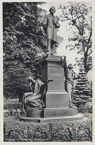 Ferdinand Schichau - The Schichau Memorial in the park along Schichaustraße, Elbing. The city now belongs to Poland; the statue no longer exists, and the street has been renamed.