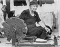 Eleanor Roosevelt tries spinning, during a visit to India in 1952.jpg