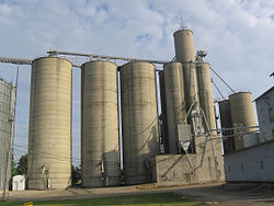 Grain elevators on the south side of Edon