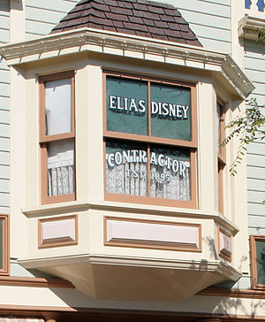 """Elias Disney - Elias' son, Walt, paid tribute to his father with a small sign on his Main Street USA attraction at Disneyland which is still in place today. It reads, """"ELIAS DISNEY, CONTRACTOR, EST. 1895."""""""